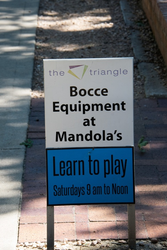 Bocce Equipment sign