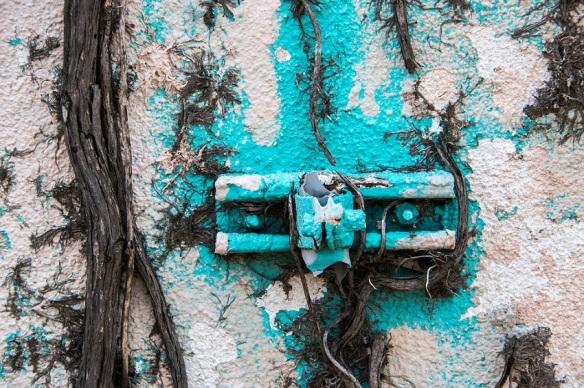 Blue paint peeling