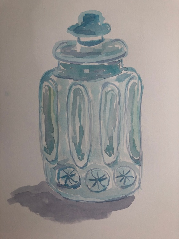 00s 11 Blue Glass Canister